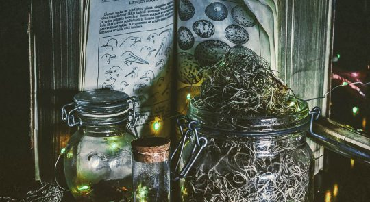 Spanish moss in a jar for a curse